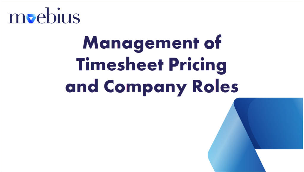 Management of Timesheet Pricing and Company Roles
